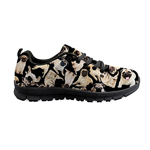 Flats Pug Coloranimal Gym Walking 2 Lace Sneakers Air up Lightweight Sports Comfotable Dog Mesh qqwPvAg