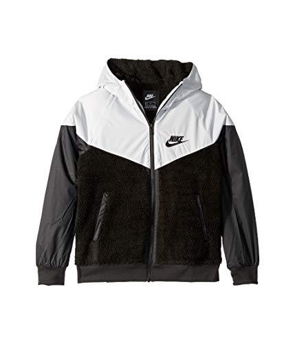 Nike Boy's Sportswear Windrunner Sherpa Jacket Black/Pure Platinum/Black Size Medium