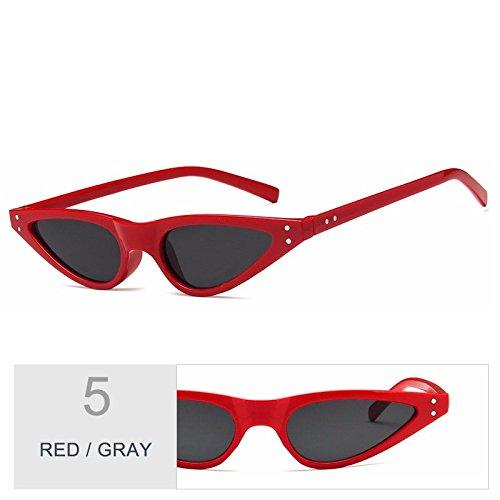 Red sol Gray gafas de Ojo anteojos bastidor UV400 Gato TL de Sunglasses azul mujeres negro de de pequeño Gafas Vintage HAnxqUZ
