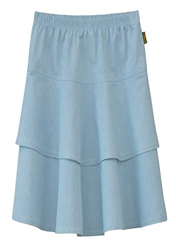 Baby'O Girl's Lightweight 2 Layered Denim Knee Length Skirt (X-Large, Light Blue)