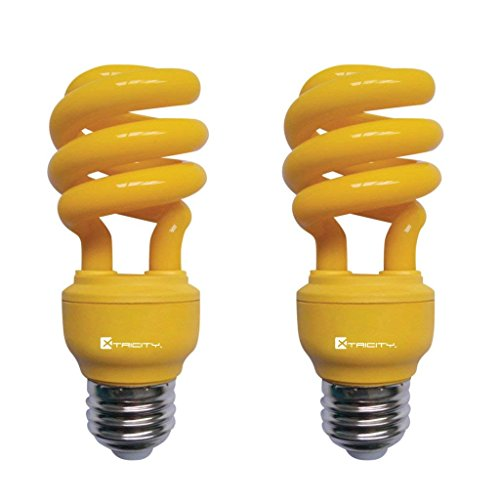 13W Yellow CFL Spiral Bug Light Bulb, 60W Equivalent, Outdoor, E26 Medium Base, 120V, UL Listed (Pack of 2) ()