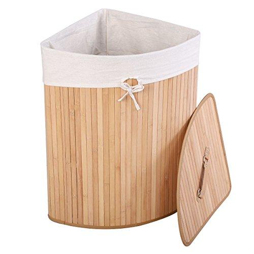 Giantex Corner Bamboo Hamper Laundry Basket Washing Cloth Bin Storage Bag Lid (Natural) (Corner Hamper)