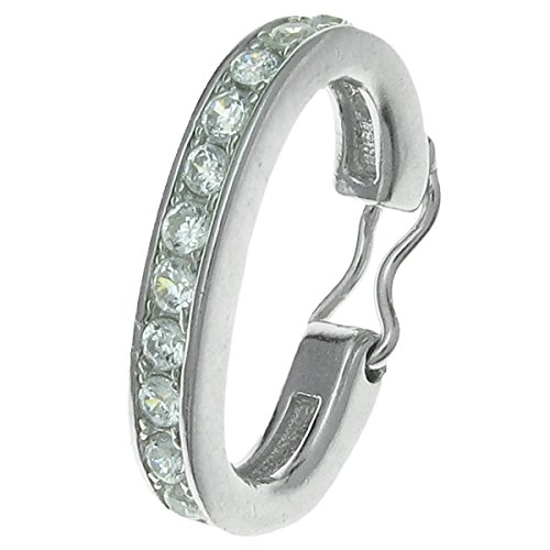 Dreambell Rhodium on 925 Sterling Silver Cz Crystal Shortener Enhancer Interchangeable Bail Clasp