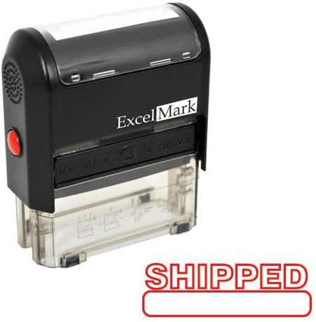 Red Ink Shipped Self Inking Rubber Stamp