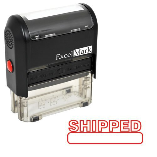 SHIPPED Self Inking Rubber Stamp - Red Ink