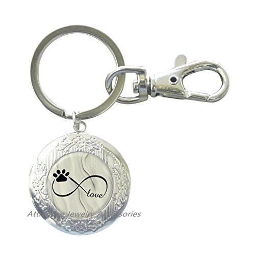 Dog Pet Photo Keychain - Dog Paw Picture Locket Key Ring