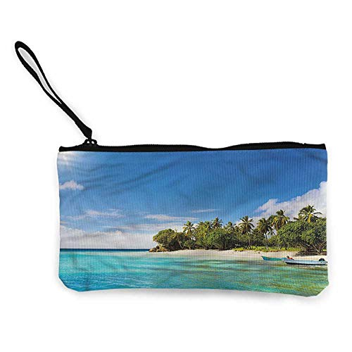 Cash Bag 1950s Summer,Boats on Tropical Islands W8.5