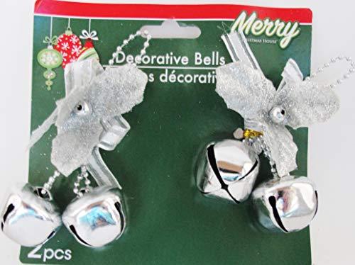 Bell Silver Glitter - Decorative Bells Silver with Glitter Flower