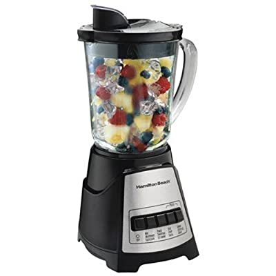Hamilton Beach Power Elite Electric Blender with 12 Blending Functions, Dishwasher Safe Glass Jar, 40 Oz, Black and Stainless (58148A),