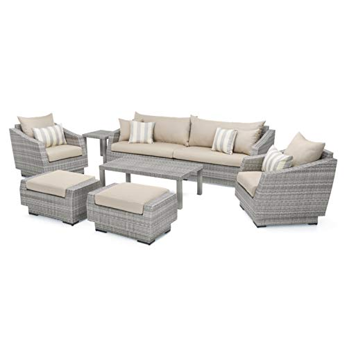 RST Brands 8-piece Cannes Sofa and Club Chair Deep Seating Patio Furniture Set, Slate Grey