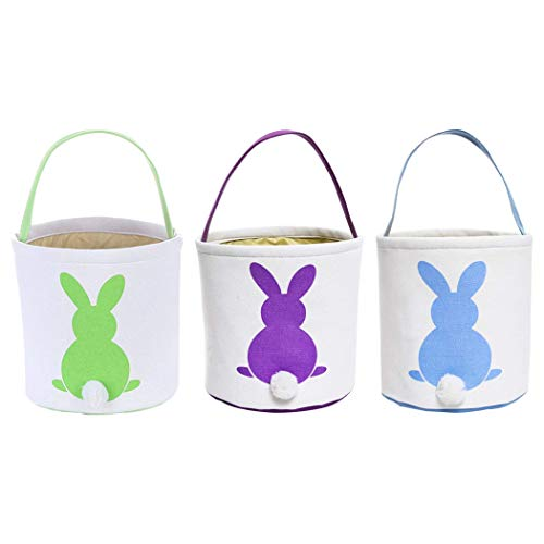 Faylapa Easter Egg Hunt Basket for Kids Bunny Canvas Tote - Party's Celebrate Decoration Eggs Candy and Gifts Carry Bucket