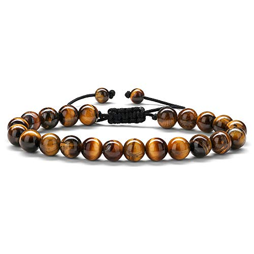 Mens Beads Bracelet Tiger Eye - 8mm Tiger Eye Stone Beads Bracelet Adjustable Natural Matte Agate Onyx Yoga Essential Oils Anxiety Aromatherapy Bracelets Jewelry Birthday Gifts for Men