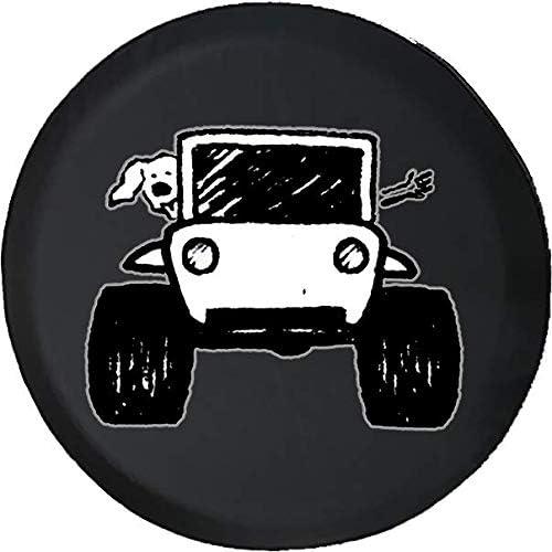 スペアタイヤカバー 足跡プリント 犬愛好家 ウェーブ オフロード 4x4 (適合: ジープラングラーアクセサリー キャンパー RVアクセサリー) サイズ 32 Inch ブラック TIRE-RPL127-32-Black