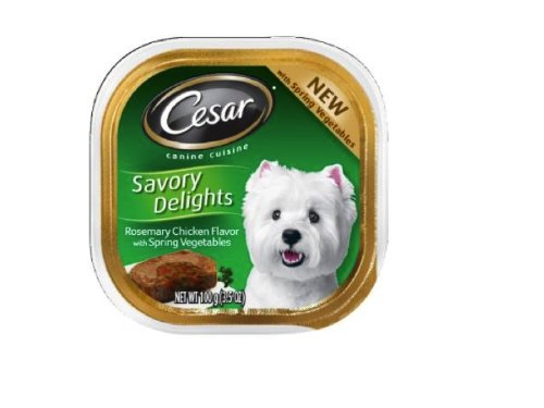 Cesar Savory Delights Canine Cuisine Rosemary Chicken Flavor with Spring Vegetables in Meaty Juices, 3.5-Ounce (Pack of 24 ), My Pet Supplies