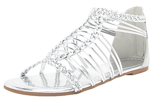 Cambridge Select Womens Open Toe Woven Braided Strappy Caged Cutout Flat Sandal Silver Pu 1CeNM