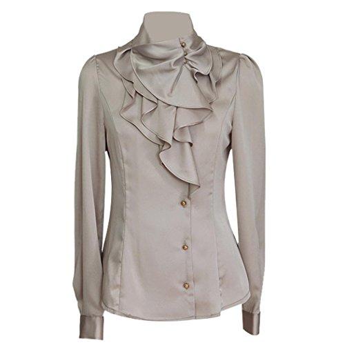 Zeagoo Women's Clothes Waterfall Ruffle Front Detail Neck Top Shirt Blouse
