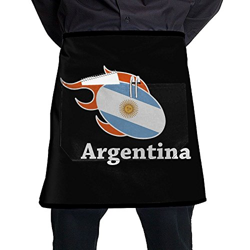 Argentina Flag Rugby Restaurant Cooking Kitchen Half Body Waist Aprons Sewing Pocket Apron