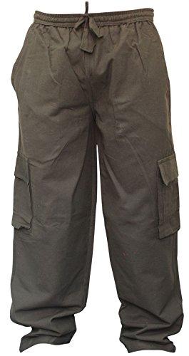 ens Plain Hemp Hippie Combat Trousers(L,Black) ()