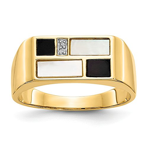 10 Diamond Mother Of Pearl - 14k Onyx, Mother of Pearl & A Quality Diamond Mens Ring Size 10