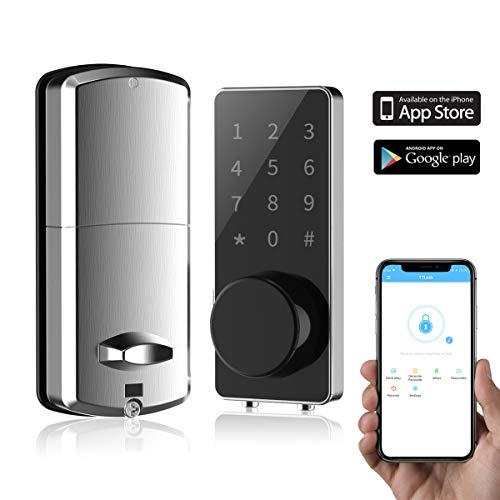 Smart Lock Front Door, Keyless Entry Door Lock Deadbolt, Digital Electronic Bluetooth Door Lock with Keypad Auto Lock for Home Hotel Apartment Office