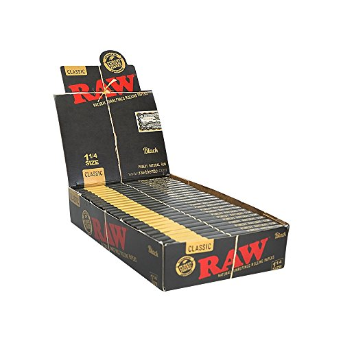 RAW Black Classic Natural Unrefined Rolling Papers - Ultra Thin - 79mm 1 1/4 Size - (24) - Cigar Rolling Papers Large