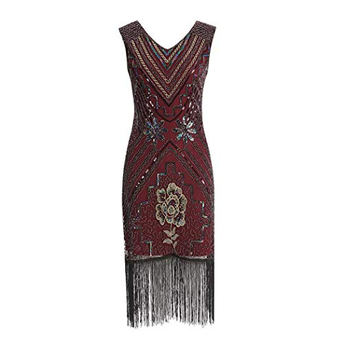 Sexy V-Neck Dress Fringe Sequins Starlight with Decorative Flower Women's Slim Dress Retro Cocktail Prom Dress (Red,L) -
