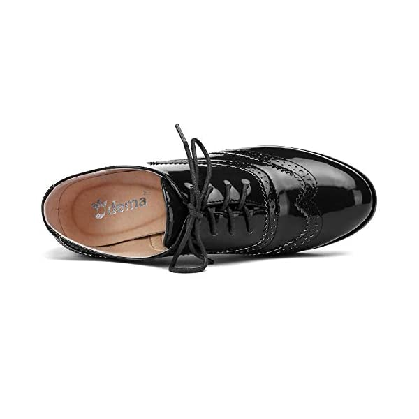 Womens PU Leather Oxfords Wingtip Lace up Mid Heel Pumps Shoes