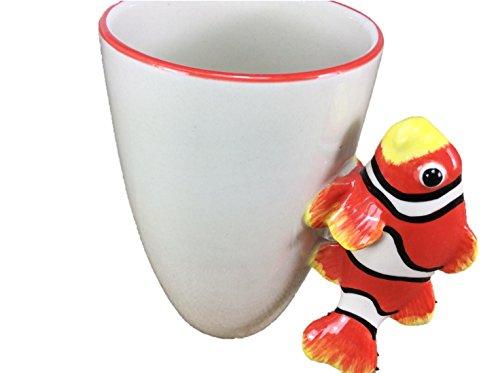 Clownfish Fish Mug Enamel Sharks Cartoon Painted Milk Glass Coffee cup Cute Mug Pottery Mugs Anime Tea Cup Giant Mug Spirit Animal for (Fancy Clownfish)