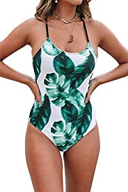 CUPSHE Women's Tropical Leaf Print Lined Lace Up Back Padded One Piece Swim