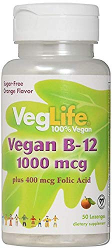 VegLife B-12 Plus Folic Acid Vegan Lozenge, 1000 mcg, Orange, 50 Count (3 Pack) ()
