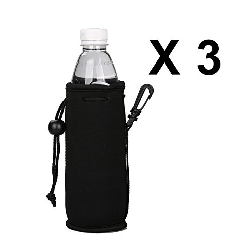 ECO Store 500ML (16.9OZ) Collapsible Neoprene Water Bottle Drawstring Cooler Insulator Holder with Clip - 3 Pack (Black x 3)