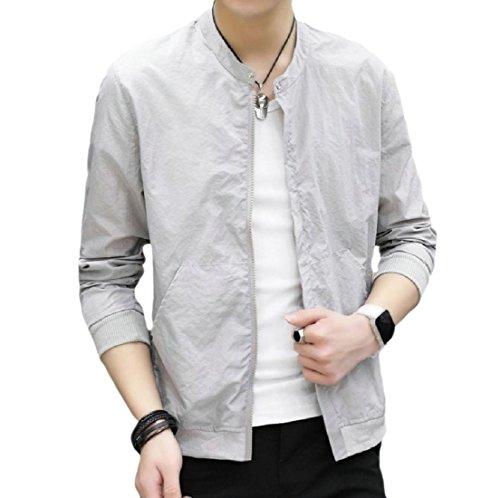 Short Vogue Men Jacket Againg Grey Light Outerwear Sunscreen Weight Thin Bomber qXga0xwp