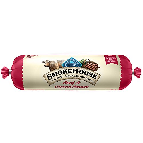 BLUE Smokehouse Gourmet Sausages Adult Beef & Carrot Recipe Dog Food Roll 1-lb (Rolls Beef Dog Food)