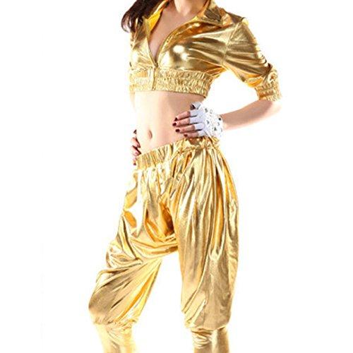 Mocure Women's Metallic Hip-hop Jazz Costumes Street Dancing Bare-Midriff Short Sleeve Coat with Front Zipper Pants (Street Dance Costume)