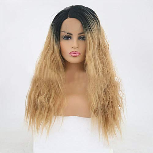 Lace-Up Chemical Fiber Foaming Roll with Small Roll and Long Curly Hair Wig Heat Resist Cospaly Party Bob Hair Wig for Lady Madam Daily (Lace Lace Up Wig)