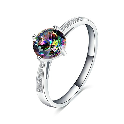 MoAndy Silver Plated Women Ring Wedding Engagement Ring Set Silver Cut Colorful Zircon US Size 9