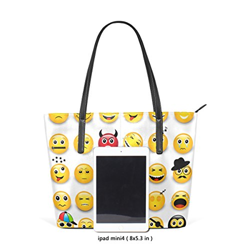 Coosun gelbe Emoticons Emojis PU Leder Schultertasche Handtasche und Handtaschen Tasche für Frauen