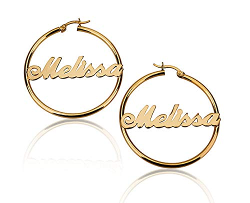 Jewelry Name Earring Plate Personalized (Personalized Hoop Name Earrings Custom 18K Gold Plated 925 Sterling Silver Nameplate Earring)
