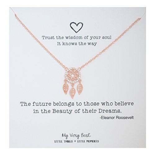 My Very Best Sparkling Dream Catcher Necklace (rose gold plated brass) - Future Jewelry