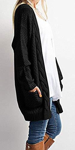 Giacca Cardigan marca A Libero Eleganti Tasche Cappotto Con di Donna Maglia Pullover Invernali Maglioni A Mode Tempo Color Lunghe Vintage Relaxed Autunno Schwarz Monocromo Maglia Size M Moda rg16Pr8qz