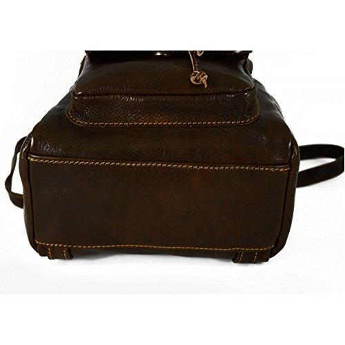 1a31923f532b3 ... Rucksack Aus Echtem Leder Mit Karabiner Und Verstellbaren Trägern Farbe  Dunkelbraun - Italienische Lederwaren - Rucksack ...