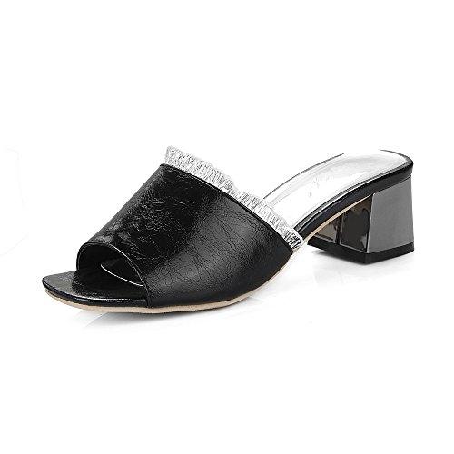 de QIN Black Toe Tacones Mujer Sandalias Bloque amp;X Peep qxUawPqr