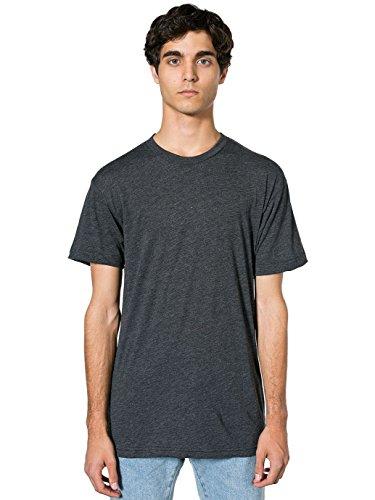 American Apparel Men 50/50 Crewneck T-Shirt Size L Heather Black