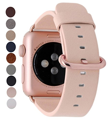 Pink Leather Band (JSGJMY Apple Watch Band 38mm Women Genuine Leather Loop with Rose Gold Metal Clasp for Iwatch Series 3/Series 2/Series 1/Edition/Sport(Soft Pink+Rose Gold Buckle))