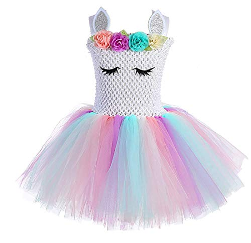 Girls Flower Tulle Costumes Princess Party Outfits -