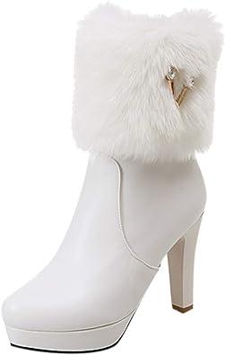 Homebaby Donne Stivali in Pelle Inverno Calzature Eleganti