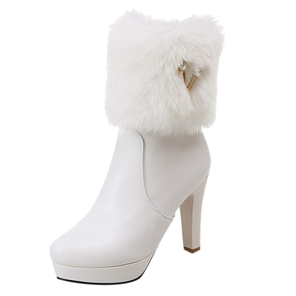 Kauneus Womens Classic Rhinestone Plush Ankle Boots Stiletto Platform Mid Calf Boots Warm Winter Boots White by Kauneus Fashion Shoes