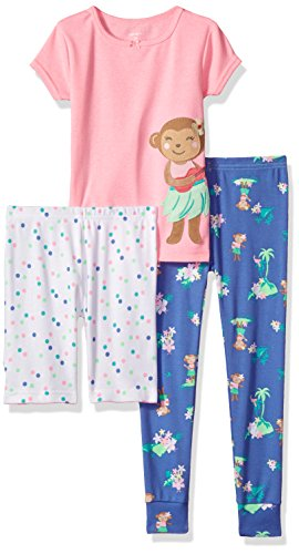 Carter's Girls' Toddler 3-Piece Cotton Pajamas, Hula Monkey 2T -