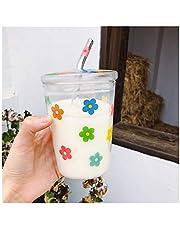 Halmkopp färgglad blomma borosilikatglas kaffekopp med sugrörslock 350 ml klart glas drickkopp sugrör mjölk muggar för vuxna och barn dricksvatten