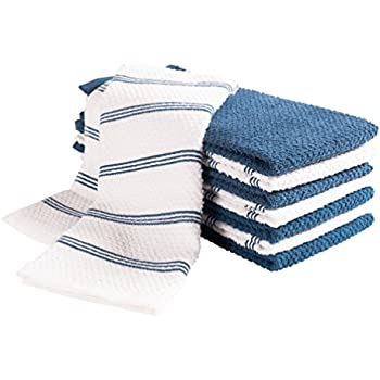 KAF Home Pantry Piedmont Terry Kitchen Towels | Set of 8, 16 x 26 inch, Absorbent Terry Cloth Dish Towels, Hand Towels, Tea Towels | Perfect for Kitchen Spills, Cooking, and Messes - Blue